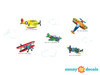 Vintage Airplane Fabric Wall Decals, Set of 5 Planes with Clouds - Detailed - Sunny Decals