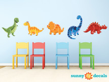 Dinosaur Fabric Wall Decals, Set of 5 Adorable Dinosaurs - Sunny Decals