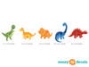 Dinosaur Fabric Wall Decals, Set of 5 Adorable Dinosaurs - Detailed - Sunny Decals