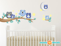 Owl Fabric Wall Decals, Set of 6 Owls with Branch, Stars, and Moon - Blue - Sunny Decals
