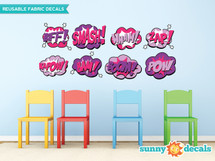 Superhero Fabric Wall Decals for Girls, Set of 8 Comic Book Word Bursts - Sunny Decals