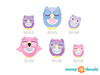 Sleepy Owl Fabric Wall Decals, Set of 6 Owls, Pink, Blue, and Purple - Detailed - Sunny Decals