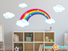 Rainbow Fabric Wall Decal, Sparkling Rainbow with Clouds, Bright Color - Sunny Decals