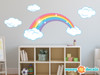 Rainbow Fabric Wall Decal, Sparkling Rainbow with Clouds, Pastel Color - Sunny Decals