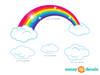 Rainbow Fabric Wall Decal, Sparkling Rainbow with Clouds, Bright Color - Detailed - Sunny Decals