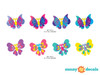 Butterfly Fabric Wall Decals, Set of Eight Beautiful Butterflies in Various Colors and Patterns - Detailed - Sunny Decals