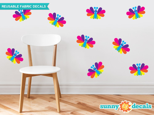 Rainbow Butterfly Fabric Wall Decals, Set of Nine Butterflies - Bright Rainbow - Sunny Decals