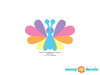 Rainbow Butterfly Fabric Wall Decals, Set of Nine Butterflies - Pastel Rainbow - Detailed - Sunny Decals