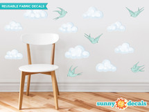 Modern Clouds Fabric Wall Decals with Birds, Set of 9 Clouds and 5 Birds - Sunny Decals