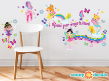 Ballerina Fabric Wall Decals with Butterflies, Musical Notes, Rainbow and More - Sunny Decals