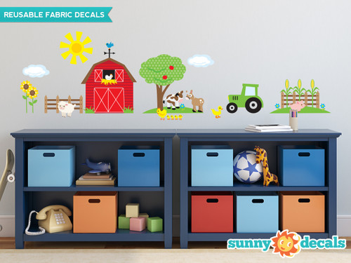 Farm Fabric Wall Decals with Barn, Tree, Tractor, Animals and More - Sunny Decals