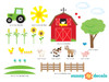 Farm Fabric Wall Decals with Barn, Tree, Tractor, Animals and More - Detailed - Sunny Decals