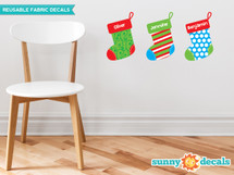Christmas Stockings with Custom Name Fabric Wall Decal, Set of Three Stockings - Sunny Decals
