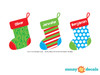Christmas Stockings with Custom Name Fabric Wall Decal, Set of Three Stockings - Detailed - Sunny Decals