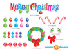 Merry Christmas Fabric Wall Decal Set with Christmas Wreath, Ornaments, Turtle Doves - Detailed - Sunny Decals