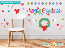 Merry Christmas Fabric Wall Decal Set with Christmas Wreath, Ornaments, Turtle Doves - Sunny Decals