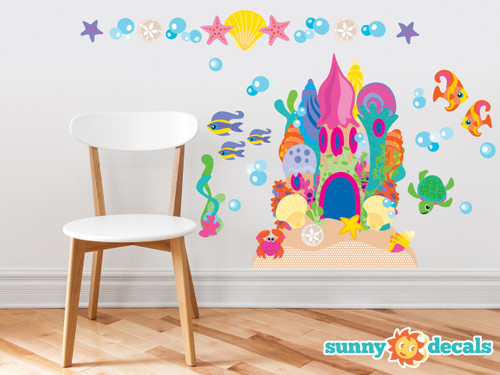 Sand Castle Fabric Wall Decals with Castle, Fish, Bubbles, and More - Sunny Decals