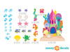 Sand Castle Fabric Wall Decals with Castle, Fish, Bubbles, and More - Detailed - Sunny Decals