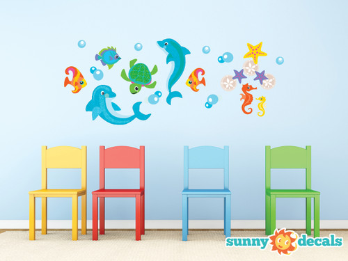 Dolphin Fabric Wall Decals with Fish, Sea Turtle, Sea Horses, and More - Sunny Decals