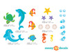 Dolphin Fabric Wall Decals with Fish, Sea Turtle, Sea Horses, and More - Detailed - Sunny Decals