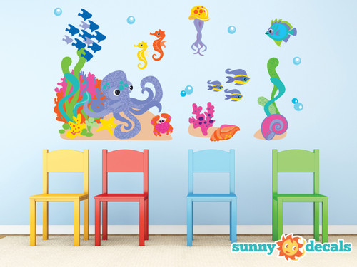 Ocean Fabric Wall Decal Set, Under the Sea Theme with Fish, Octopus, Sea Horses, and More - Sunny Decals