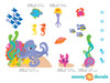 Ocean Fabric Wall Decal Set, Under the Sea Theme with Fish, Octopus, Sea Horses, and More - Detailed - Sunny Decals