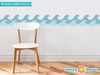 """Wave Wall Border Fabric Wall Decal - Set of Two 24"""" x 7.8"""" Sections - Vintage - Sunny Decals"""