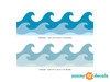 """Wave Wall Border Fabric Wall Decal - Set of Two 24"""" x 7.8"""" Sections - Detailed - Sunny Decals"""