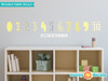 Modern Numbers Fabric Wall Decals - Yellow Grey White - Sunny Decals