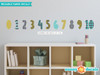 Modern Numbers Fabric Wall Decals - Orange Grey Turquoise Black - Sunny Decals