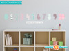 Modern Numbers Fabric Wall Decals - Pink Grey Light Blue - Sunny Decals