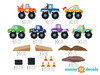 Monster Trucks Fabric Wall Decals, Set of 7, Available in 3 Sizes - Detailed - Sunny Decals