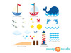 Nautical Fabric Wall Decals, Ocean scene with Pelican, Sailboats, Lighthouse, Whale and More - Detailed - Sunny Decals