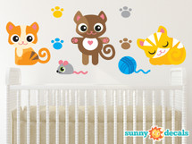 Cat Fabric Wall Decals, Set of Three Adorable Kittens with Paw Prints, Mouse, Ball of Yarn - Sunny Decals