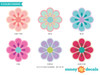 Flower Fabric Wall Decals - Set of 28 Flower Pattern Decals - Detaled- Sunny Decals
