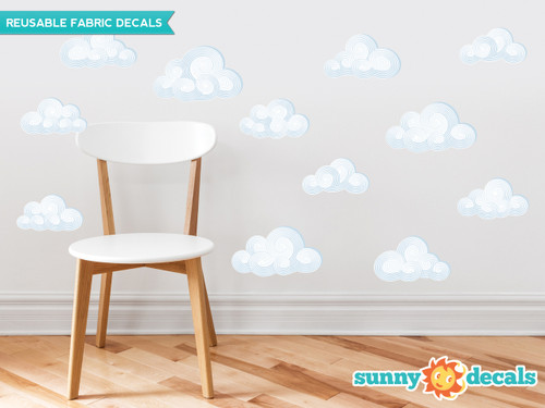 Modern Clouds Fabric Wall Decals - Set of 12 Clouds - Sunny Decals