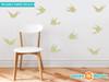 Modern Birds Wall Decals, Set of 10 Birds - Green - Sunny Decals