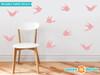 Modern Birds Wall Decals, Set of 10 Birds - Pink - Sunny Decals