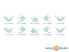 Modern Birds Wall Decals, Set of 10 Birds - Detailed - Sunny Decals
