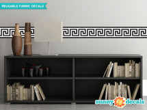 "Greek Key Wall Border Fabric Wall Decal - Black and White - Set of Two 24"" x 6"" Sections - Sunny Decals"