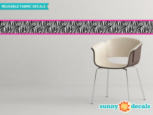 "Zebra Wall Border Fabric Wall Decal - Pink - Set Of Two 25"" x 6"" Sections - Sunny Decals"