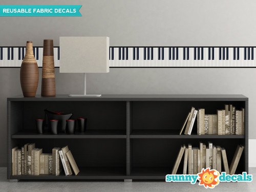 """Piano Wall Border Fabric Wall Decal - Set Of Two 25"""" x 7"""" Sections - Sunny Decals"""
