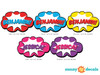 Superhero Word Burst with Custom Name Fabric Wall Decal - Detailed - Sunny Decals