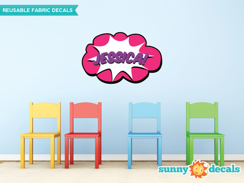Superhero Word Burst with Custom Name Fabric Wall Decal - Pink - Sunny Decals