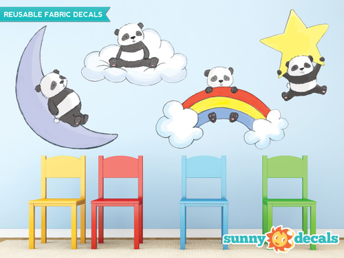 nda Bears Fabric Wall Decals, Set of Four Adorable Pandas with Cloud, Star, Rainbow, and Moon - Sunny Decals