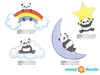 nda Bears Fabric Wall Decals, Set of Four Adorable Pandas with Cloud, Star, Rainbow, and Moon - Detailed - Sunny Decals