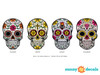 Sugar Skull Fabric Wall Decal - Day of the Dead Wall Decor - Detail- Sunny Decals