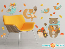 Fall Animals Fabric Wall Decals - Set of 6 Animals - Bear, Hedgehog, Squirrel, Birds and More - Sunny Decals