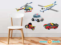 Building Block Transportation Set - Set of 5 - Plane, Car, Helicopter and More - Sunny Decals