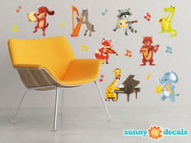 Musical Animals Fabric Wall Decals - Set of 8 Animals Playing Instruments - Sunny Decals